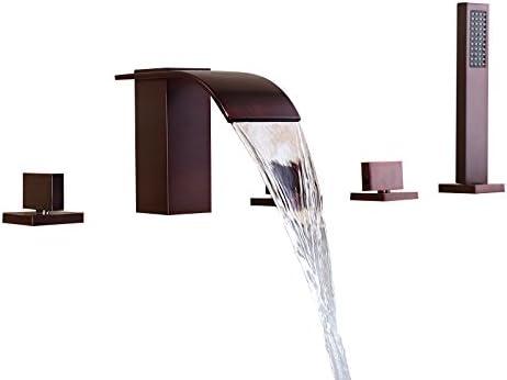 Lovedima Solid Brass 5 Hole Waterfall Deck Mount Bathroom Roman