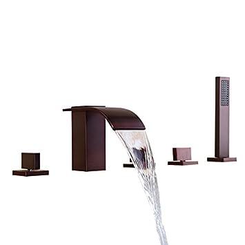 Lovedima Solid Brass 5 Hole Waterfall Deck Mount Bathroom Roman Tub