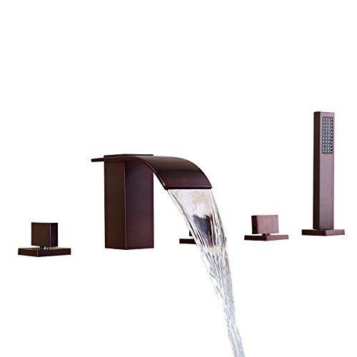 - Lovedima Solid Brass 5-Hole Waterfall Deck Mount Bathroom Roman Tub Faucet in Oil Rubbed Bronze(Oil Rubbed Bronze)