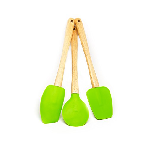 Quicklids QL-WS-GR Silicone Spatulas with Wooden Handles (Set of 3), Green