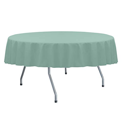 Ultimate Textile -2 Pack- Cotton-Feel 60-Inch Round Fine Dining Tablecloth - Fits Tables Smaller Than 60-Inches in Diameter, Seamist Light Green