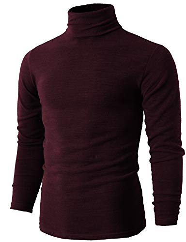 (H2H Mens Basic Knitted Turtleneck T-shirts WINE US XS/Asia M (KMTTL028))