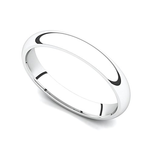 18k White Gold 3mm Classic Plain Comfort Fit Wedding Band Ring, 5.5 by Juno Jewelry