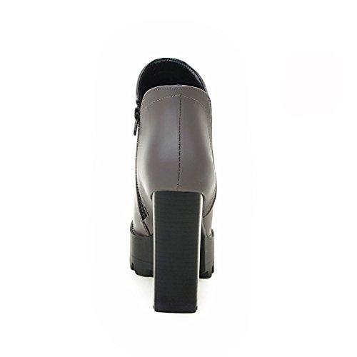 redonda botas QXOtoño desnudo ZQ elegante temperamento zapatos cabeza Grey botas Invierno ultra con e cremallera gruesa con lateral qZxd4Xw