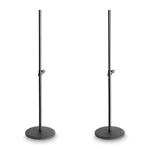 2x Gravity Black Speaker Stand with Round Base SSP WB SET 1 DJ DISCO PA