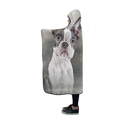 (YUMOING Hooded Blanket Drawing Dog Portrait Boston Terrier Portrait Blanket 60x50 Inch Comfotable Hooded Throw Wrap)
