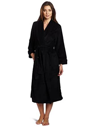 Casual Moments Women's Shawl Collar Wrap Powder Puff Pattern Robe, Black, Small