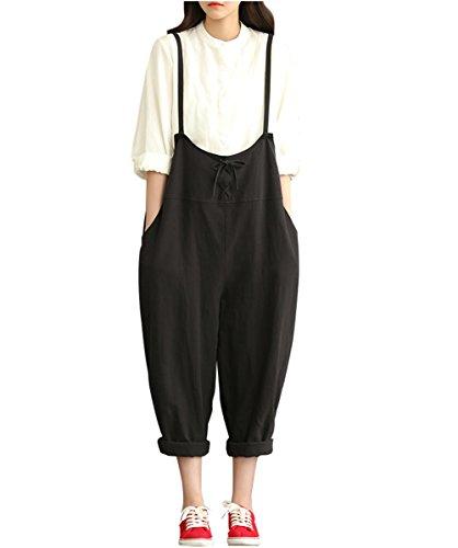 Love Cotton Womens Cotton Linen Loose Fit Overalls Plus Size