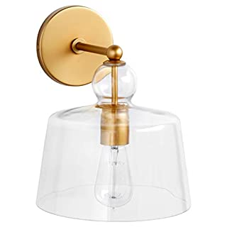 Stone & Beam Modern Metal Wall Mount Sconce Fixture With Light Bulb And Glass Shade - 16 x 8 x 10 Inches, Brushed Brass (B07374K53B)   Amazon Products