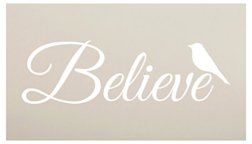 Believe Word Stencil with Bird by StudioR12 | Reuseable Mylar Template | Use to Paint Wood Signs - Wall Art - Pallets - Pillows - DIY Faith Inspiration Home Decor - Select Size (20