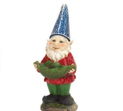 SKB Family Bird Feeder Gnome Solar Statue Light Garden Decor Plastic Night Glow Feed by SKB-family