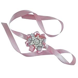 SM SunniMix Women Pearl Beaded Wrist Flowers Bridal Wrist Corsage Bracelet Hand Flowers Wedding Banquet Party Dress up 110