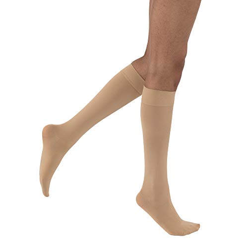 JOBST Opaque Knee High 15-20 mmHg Compression Stockings, Closed Toe, Medium, Natural