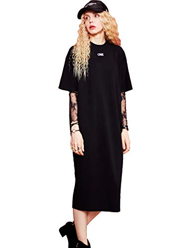 Womens Knitted Sweater Dress, Short Sleeve Loose Fit Pullover Mini Jersey Dress, Black ()