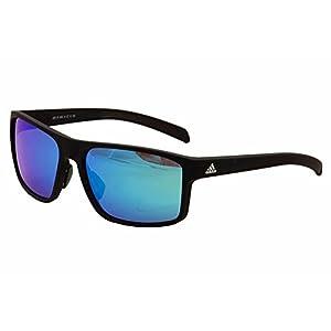adidas Mens Whipstart a423 6055 Rectangular Sunglasses, Black Matte, 61 mm
