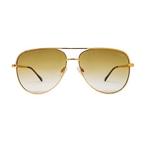 (EVEE Fashionable Metal Aviator Sunglasses with Oversize Flat Lenses (GEMINI) (Gold/Green, 64))