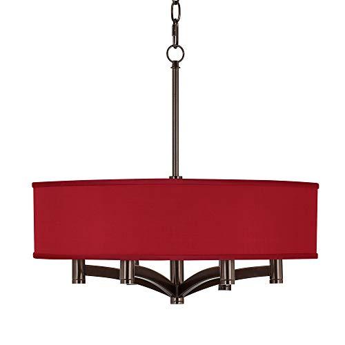- Red Textured Faux Silk Ava 6-Light Bronze Pendant Chandelier - Possini Euro Design