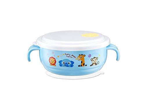 Yuchoi Contemporary Animal Pattern Baby Feeding Bowl Anti-Scald Stainless Steel Children Dish Insulation Bowl with Lid and Double Handles for Kids Students(Blue) by Yuchoi