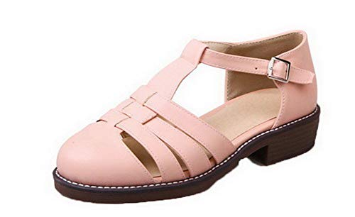 Women Sandals VogueZone009 Low Round Toe CCALP015475 Pink Buckle Solid Pu Heels 78HOdwxq8