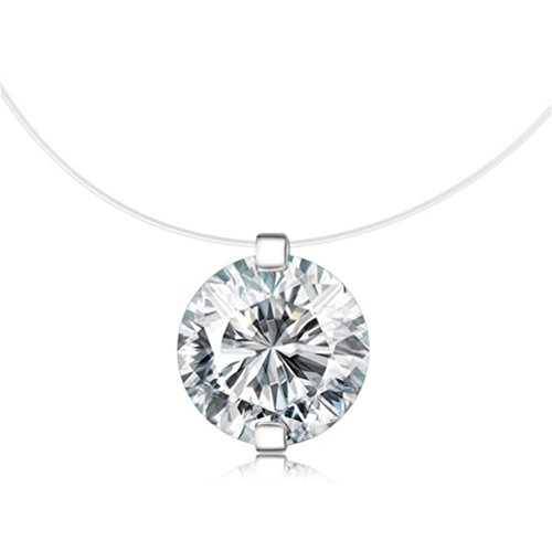 S925 Round fish line two claws Cut Clear Cubic Zirconia Pendant Necklace (Cherry Classic Collection)