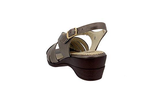 breiter 2553 Komfortschuh Piesanto Taupe Sandale Komfortlederschuhe Damen 1RqTU