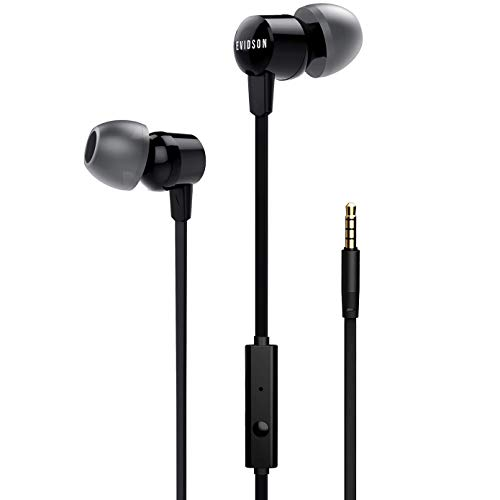 Evidson Vibe Black in-Ear Wired Earphones with Mic, 2X Bass, Off-Axis Ergonomic match, HD Sound Mobile Headset with Noise Cancellation, Made in India (Black)