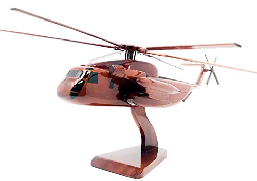 CH-53 Sea Stallion Replica Helicopter Model Hand Crafted with Real Mahogany (Mahogany Model Aircraft)