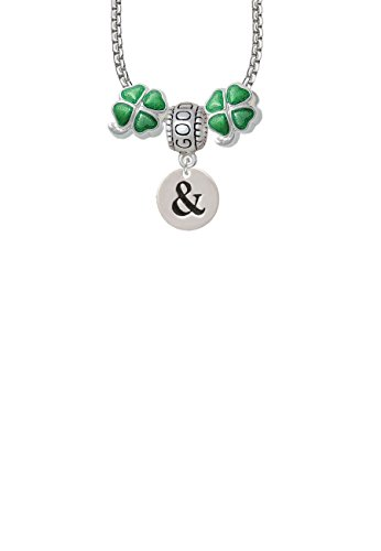 1/2' Enamel Jewelry Pendant - Disc 1/2'' - Symbol - Ampersand - & - Good Luck and Clover 3 Bead Necklace