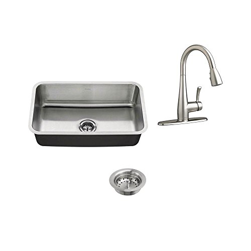 - American Standard All-in-One Undermount Stainless Steel 30 in. Single Bowl Kitchen Sink with Faucet in Stainless Steel