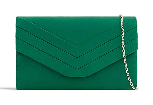 Clutch Pleated KL809 Suede Faux Bag Bag Purse Handbag Dark Green Evening Ladies Envelope Women's xYFwTx
