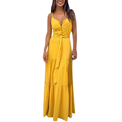 TANLANG Women Flounce Office Work Casual Dress Summer Vintage Dresses Personalized Button V-Neck Sling Dress Maxi Dress Yellow