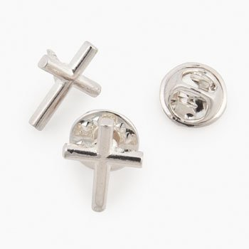 Silvertone Cross Pin (1 Dozen) - Bulk (Cross Pins)