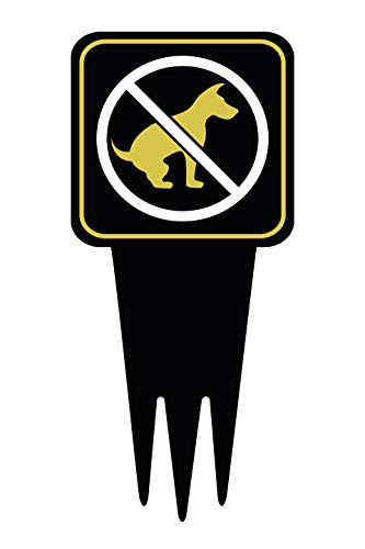 Brookfield Products No Dogs Yard Sign with Stake | Keep Off Grass, No Pets, No Peeing, No Pooping on Lawn Signs | Unique Triple Self Staking Design | Heavy Duty Dibond Aluminum | 12 Tall x 5.5 Wide