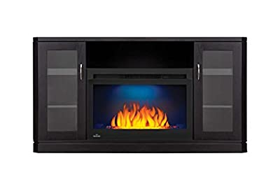 Crawford Electric Fireplace TV Stand in Gloss Black Finish