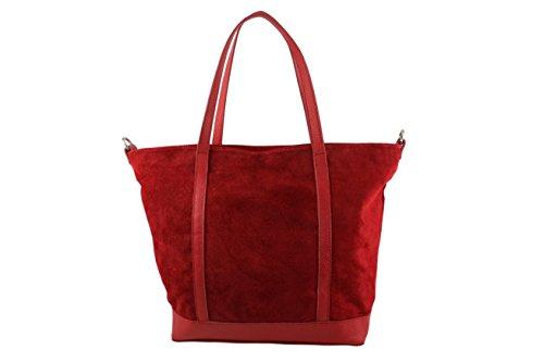 CHLOLY - Bolso de tela de Piel Lisa para mujer rojo oscuro