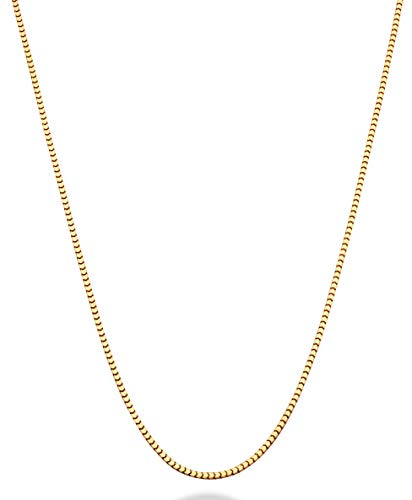 Venetian 10k Necklace Box Gold (MiaBella 18K Gold Over Sterling Silver Italian Thin 1.6mm Square Venetian Mirror Box Link Chain Necklace for Men Women, 18