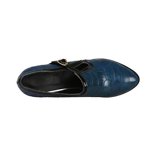 De Zapatos Redonda Para Altos Hlg Pu Jane Mary Boca Juego Mujer Tacones Blue Profunda Corte Punta Pies FgvfcqT4