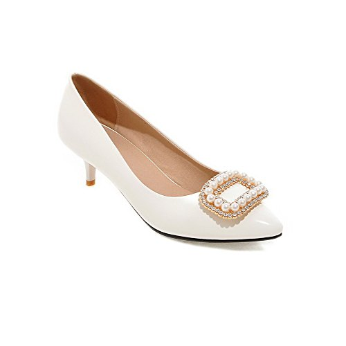 VogueZone009 Women's Solid PU Kitten-Heels Pull-on Pointed Closed Toe Pumps-Shoes White