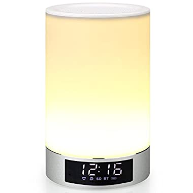 Mabor Bedside Lamp, Touch Sensor Table Lamp + Multicolor Dimmable Night Light with Bluetooth Speaker, Alarm Clock, TF Card Slot, Hands-free & Timing Function