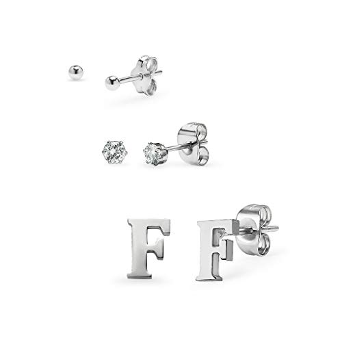(Set of 3 Stud Earrings - Ball, Alphabet Letter & Cubic Zirconia by I Jewel | 3 Polished Finishes with Free Gift Pouch Silver Tone Letter F)
