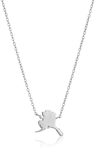 (Sterling Silver Stationed Mini State Alaska Pendant Necklace, 16