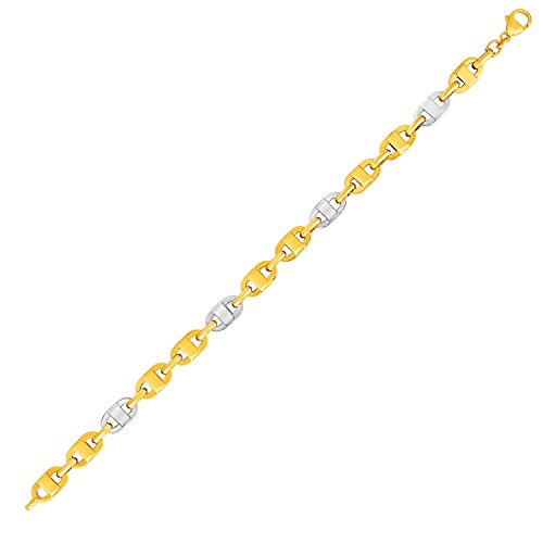 (Jewels By Lux Mariner Motif Link Bracelet in 14K Two-Tone Gold)