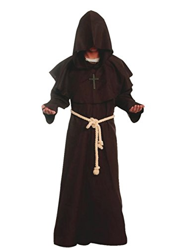Friar Medieval Hooded Monk Renaissance Priest Robe Costume Cosplay brown XL -