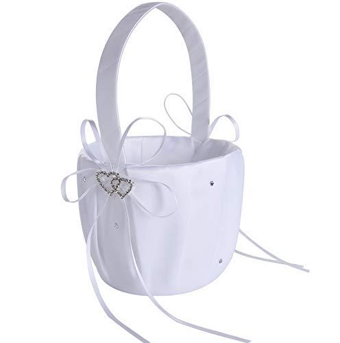Kaputar Crystal Decor Double-Heart Flower Basket (White) | Model WDDNG -844
