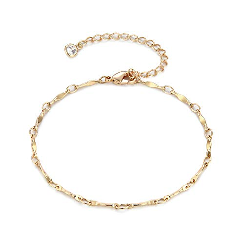 Tiny Hammered Gold Bar Linked Chain Bracelet,14K Gold Plated Dainty Friendship Bracelet