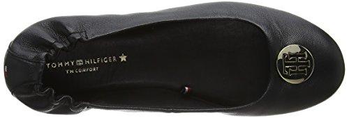 para Negro Leather Tommy Black Ballerina Flexible Mujer 990 Hilfiger Bailarinas qRwPSX