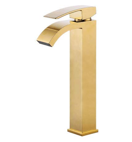 (Wovier Brushed Gold Waterfall Bathroom Sink Faucet,Single Handle Single Hole Vessel Lavatory Faucet,Basin Mixer Tap Tall Body)