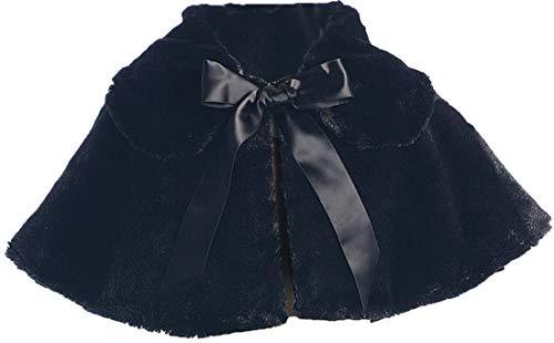 (Black Girl's Soft Faux Fur Cape with Satin Tie - Size 10 )