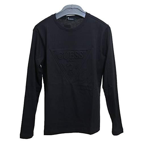 キャベツ航空便科学的GUESS (ゲス) メンズ ロングスリーブ Tシャツ トライアングルマーク エンボス加工 MI3K8524MI 長袖 シャツ ブラック?ホワイト