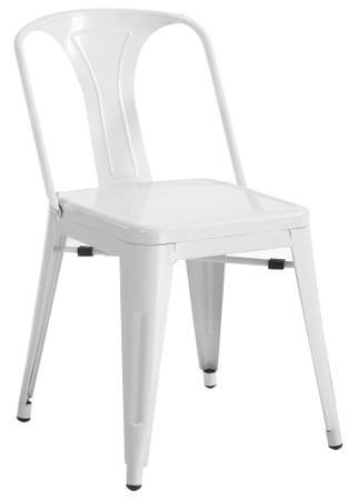 Superbe French Industrial Style Modern Side Chair   White